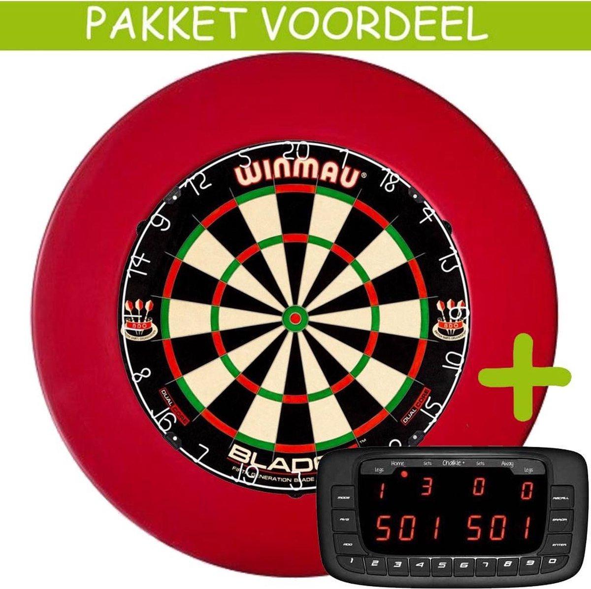 Elektronisch Dart Scorebord VoordeelPakket (Chalkie + ) - Dual Core - Rubberen Surround (Rood)