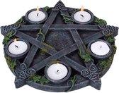 Nemesis Now - Theelichthouder Wiccan Pentagram - Grijs