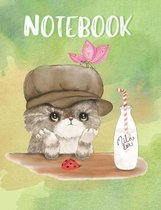 Notebook: Cute Cat Composition Notebook, Collage Ruled, Perfect For School Notes