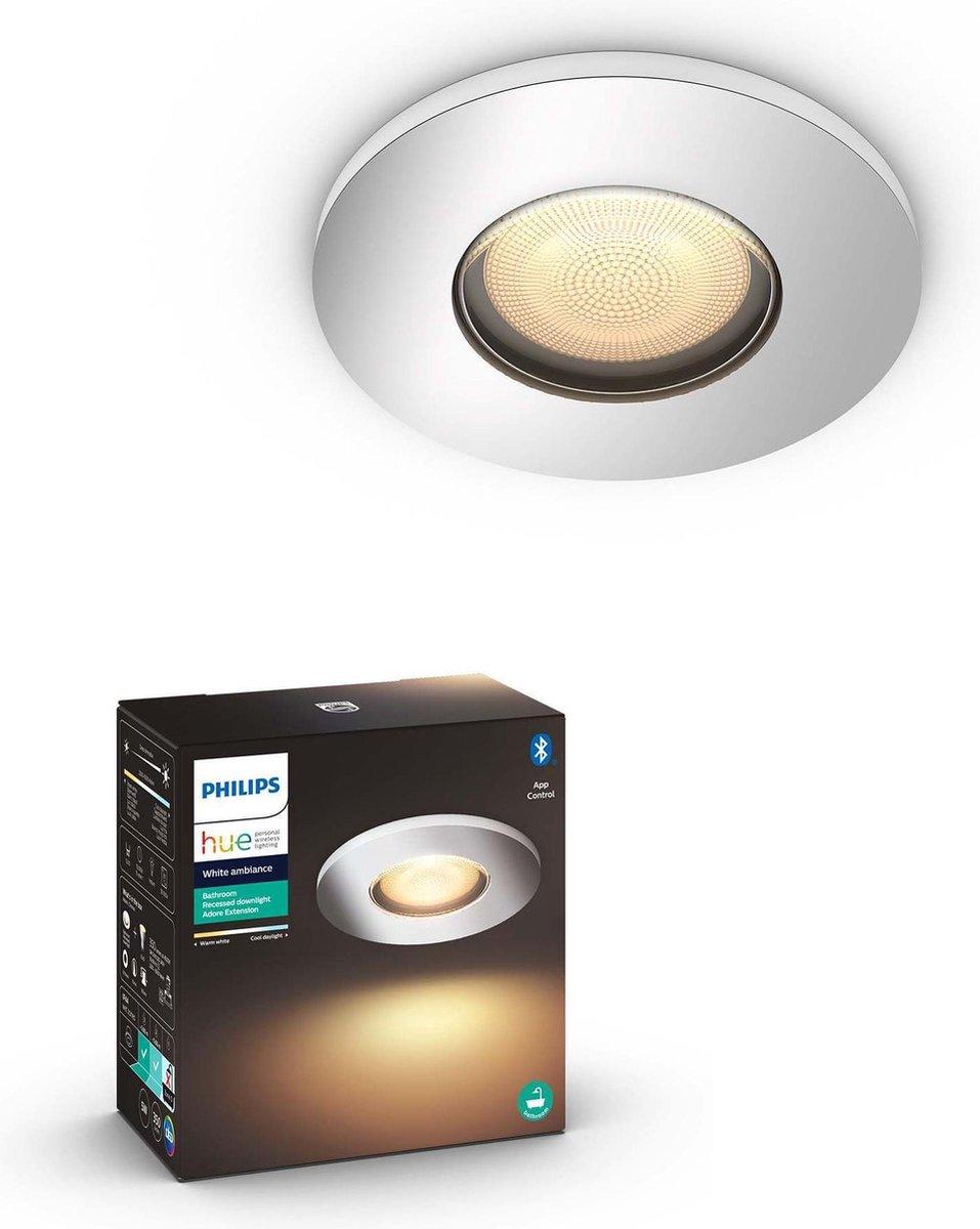 Philips Hue Adore recessed Inbouwspot Badkamer uitbreiding - White Ambiance - GU10 - Chroom - 5W - Bluetooth