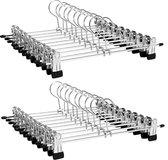 LifeGoods 20x Broekhangers met Verstelbare Antislip Knijpers - Stevige Kleding Hanger met Klemmen - Kleerhanger voor Dames/Heren/Kind/Baby - Broek en Rok Houder - Metaal