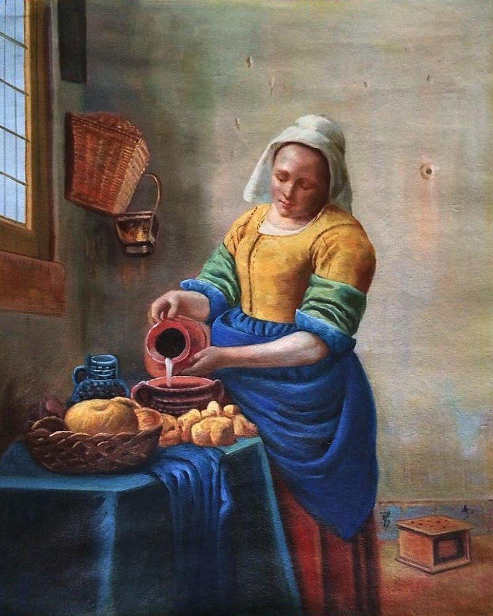 Diamond Painting Melkmeisje van Vermeer 30x40cm. (Volledige bedekking - Ronde steentjes) diamondpainting inclusief tools