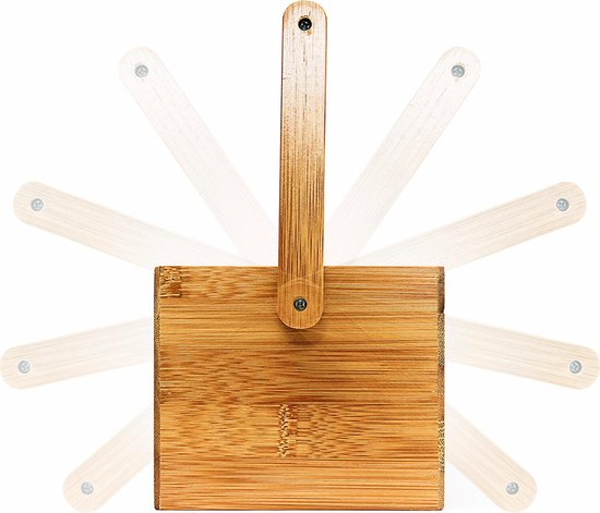 relaxdays Bureau organizer post pennen - Houten pennenbakje - 4 vakken - Bamboe hout. - Relaxdays