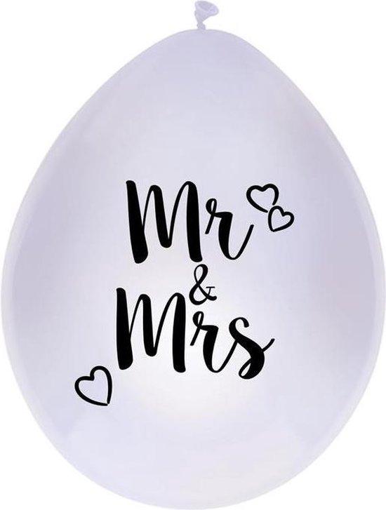 Haza Original Ballonnen Mr & Mrs 30cm 6 Stuks Wit