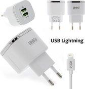 UniQ Accessory Fast charger travel adapter Lightning - Snellader reis adapter met lightning kabel - geschikt voor Apple iPhone & iPad - type Un-Q79 - 2 poorten USB - Wit - Lightning kabel bijgeleverd.