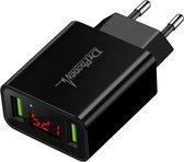 DrPhone - Thuislader 2 poorten USB-oplader 2.2A Smart Fast Charge Lader met LED-display - Zwart