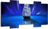 Canvas schilderij Zeilboot | Blauw, Wit, Zwart | 120x65 5Luik