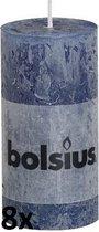 8 stuks Bolsius donkerblauw rustiek stompkaarsen 100/50 (25 uur)