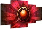 Canvas schilderij Abstract | Rood, Geel | 160x90cm 4Luik