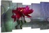 Canvas schilderij Bloem | Rood, Grijs | 150x80cm 5Luik