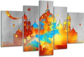 Glasschilderij Gebouw | Grijs, Oranje, Blauw | 170x100cm 5Luik | Foto print op Glas |  F005541