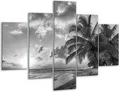 Glas schilderij Zee, Strand | Grijs, Zwart | 100x70cm 5Luik | Foto print op Glas |  F006569