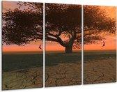 Canvas schilderij Boom | Bruin, Grijs, Zwart | 120x80cm 3Luik