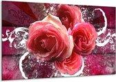 Canvas schilderij Roos   Roze, Paars, Wit   120x70cm 1Luik