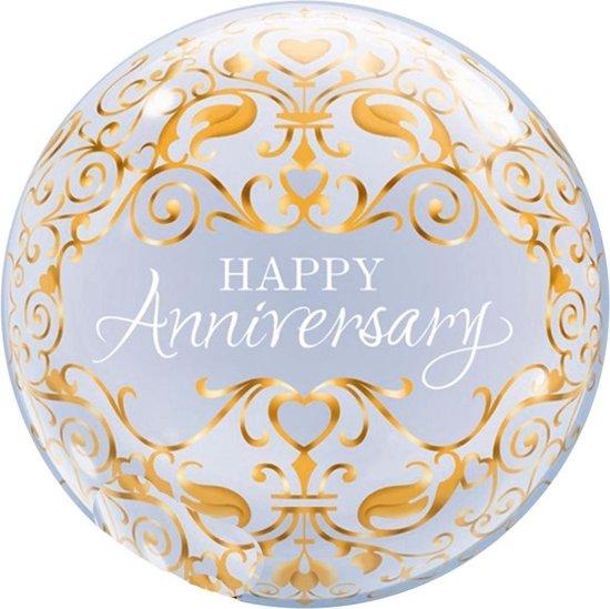 Folat Ballon Happy Anniversary Bubbles 56 Cm Latex Goud