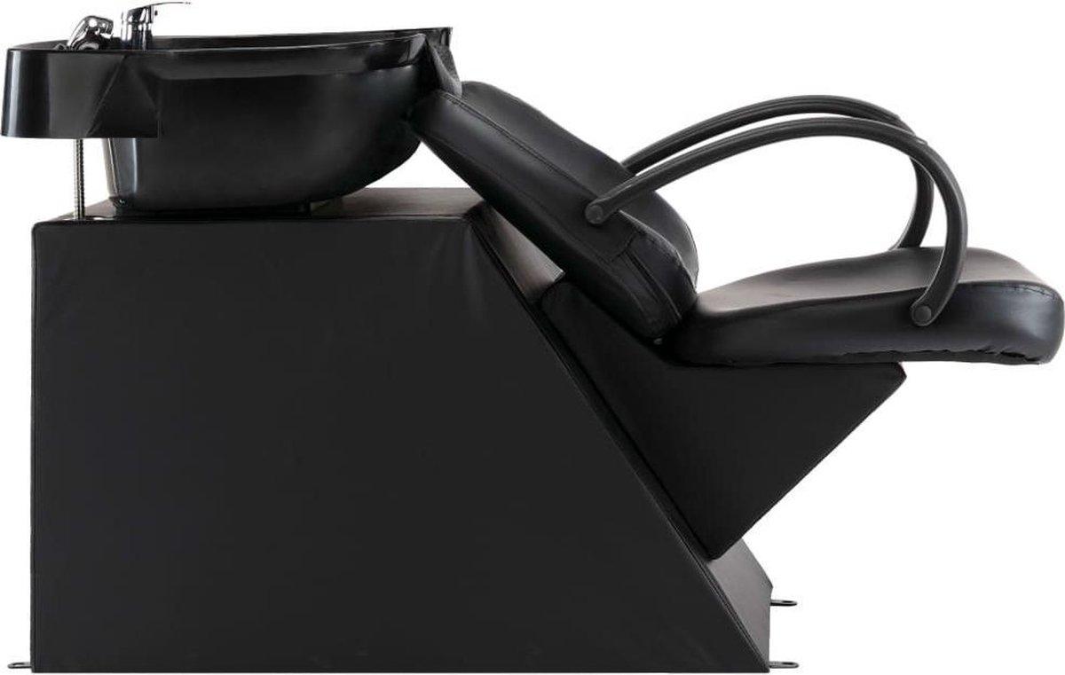 vidaXL Wasstoel met waskom kunstleer zwart VDXL_110271