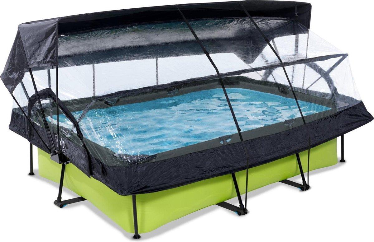 EXIT Lime zwembad 220x150x65cm met overkapping, schaduwdoek en filterpomp - groen