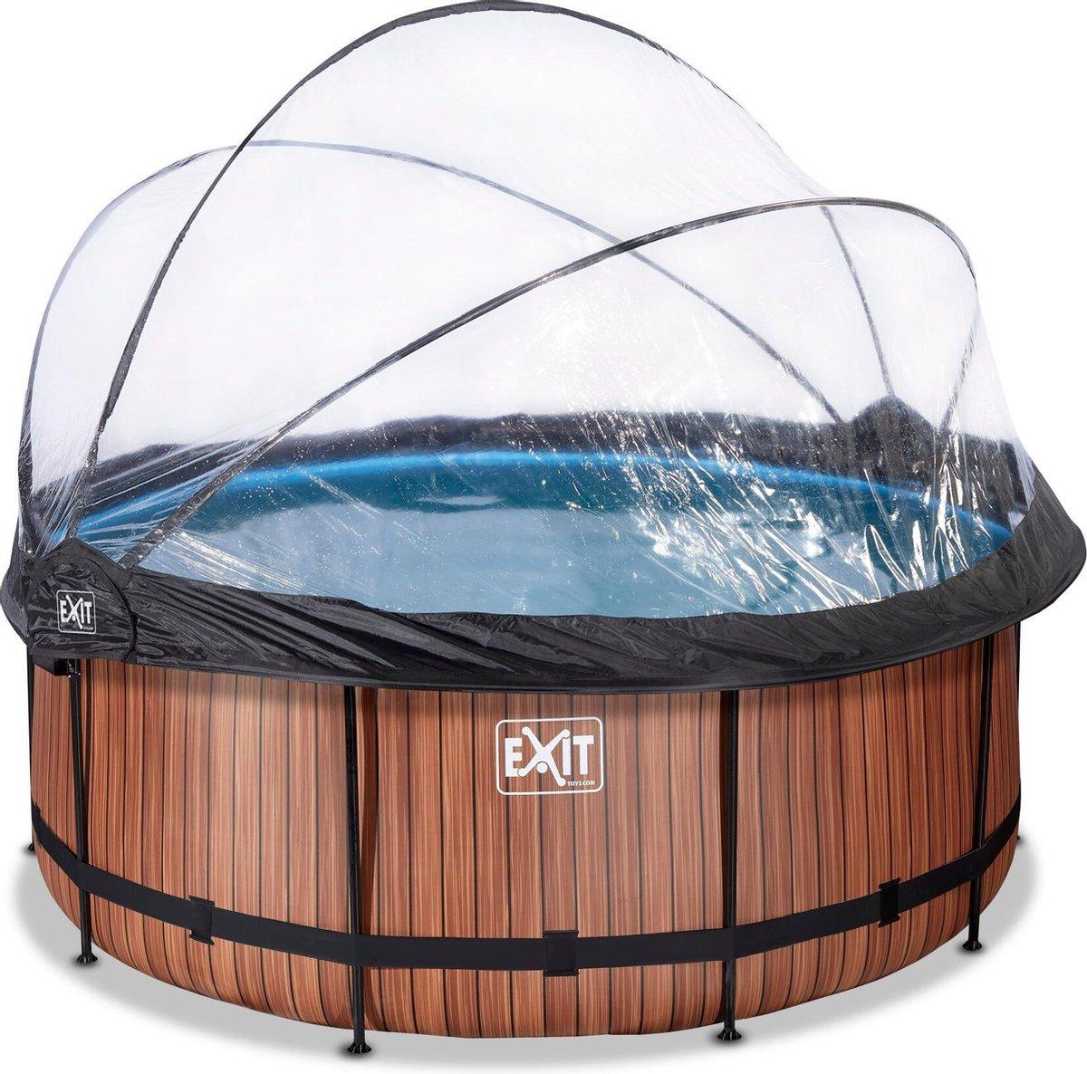 EXIT Wood zwembad ø360x122cm met overkapping en zandfilterpomp - bruin