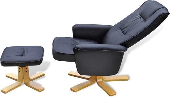 Tv-fauteuil met voetensteun verstelbaar kunstleer zwart