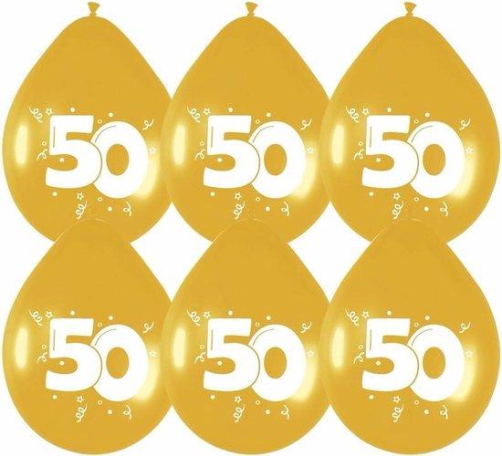 24x stuks gouden ballonnen 50 jaar leeftijd versieringen feestartikelen