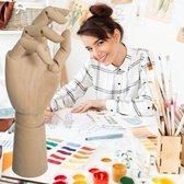 Decopatent® Tekenhand - Houten Hand model - Handen Tekenmodel  - Ledepop Tekenen - Teken hand voor Volwassenen & Kinderen - 28.5Cm