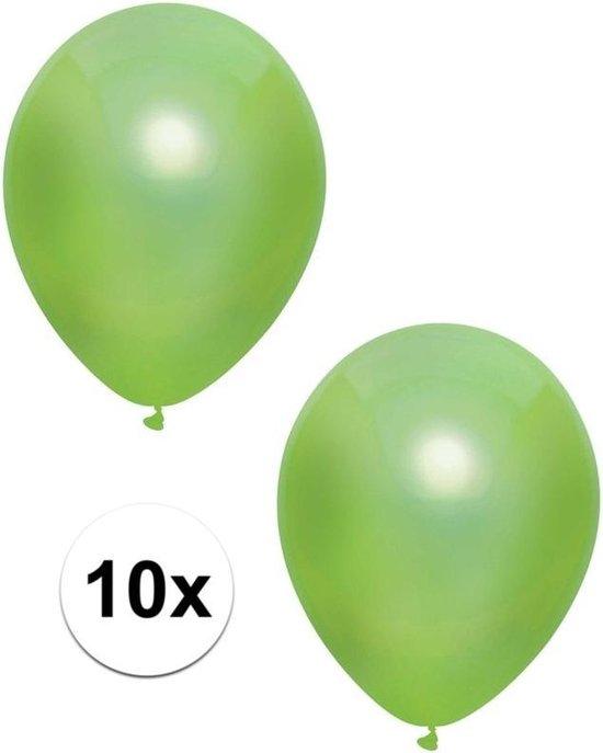 10x Lichtgroene metallic ballonnen 30 cm