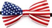 Amerika verkleed vlinderstrikje 12 cm voor dames/heren -  Landen thema verkleedaccessoires/feestartikelen - Vlinderstrikken/vlinderdassen met elastieken sluiting
