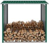 Haardhoutschuur 172x91x154 cm gegalvaniseerd staal groen (incl. Werkhandschoenen)