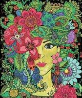 MyHobby Borduurpakket – Mandala vrouw 50×60 cm - Aida stof 5,5 kruisjes/cm (14 count)