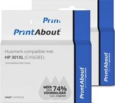 PrintAbout - Inktcartridge / Alternatief voor de HP 301XL / Zwart 2-pack