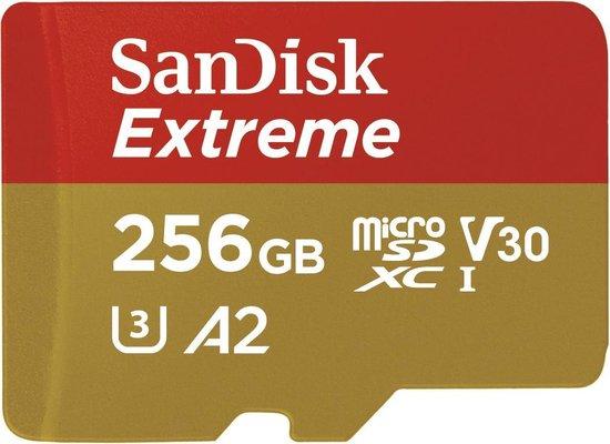 SanDisk Extreme MicroSDXC 256GB - U3 V30 A2 - 160MB/s - met adapter