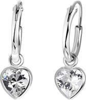 Lucardi - Zilveren kinderoorbellen hart met zirkonia