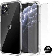 iPhone 11 Hoesje Anti-Shock TPU Siliconen Soft Case + 2X Tempered Glass Screenprotector