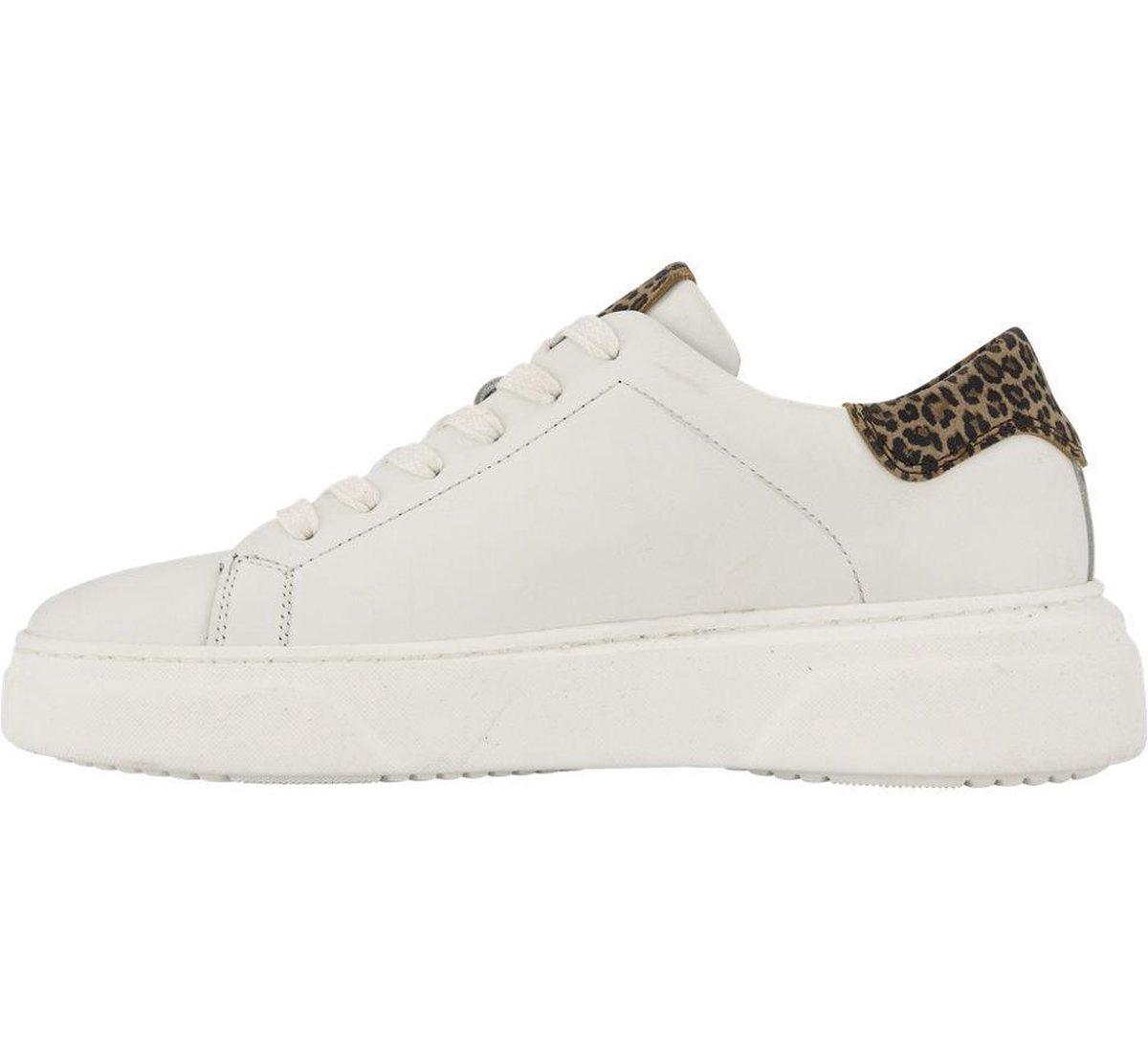 5th Avenue Dames Witte leren sneaker panterprint - Maat 36 Sneakers