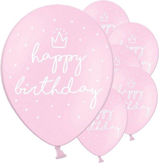 Ballonnen 'Happy Birthday' Lichtroze - 6 stuks