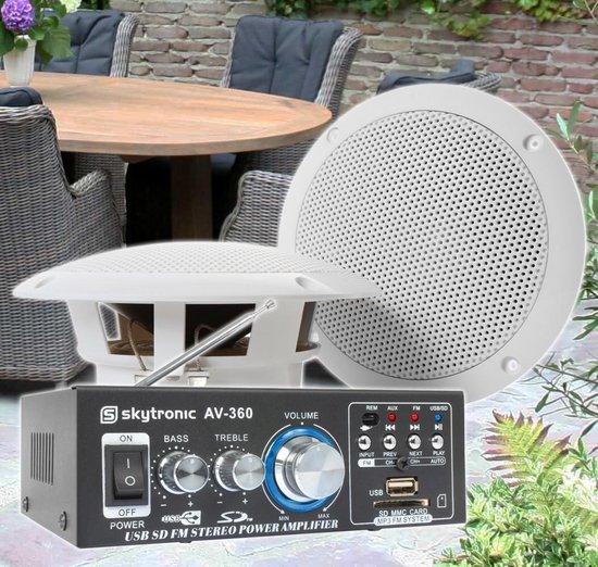 Weerbestendige 6.5 speakerset + versterker en kabel voor muziek op terras of veranda