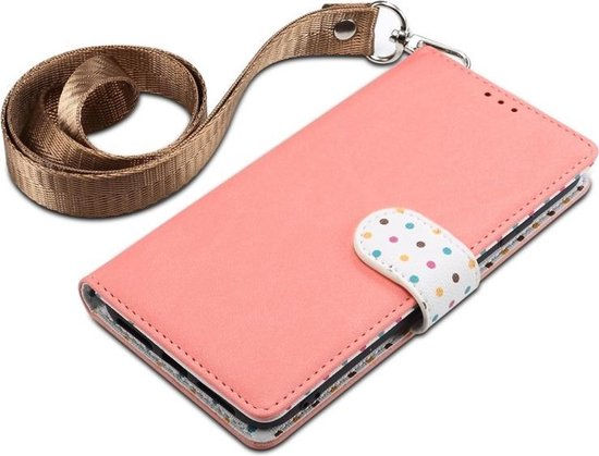 Let op type!! Wave Point horizontale Flip lederen draagtas met kaartsleuven & houder & portemonnee & Lanyard voor Galaxy Note 10 + (roze)