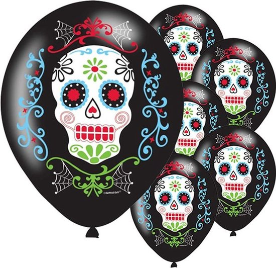 6 Latex Balloons Day of the Dead 27 cm/11