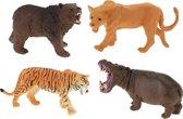 Toi-toys Dierenset Beer/leeuw/tijger/nijlpaard 4 Stuks 10 Cm