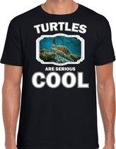 Dieren schildpadden t-shirt zwart heren - turtles are serious cool shirt - cadeau t-shirt zee schildpad/ schildpadden liefhebber 2XL