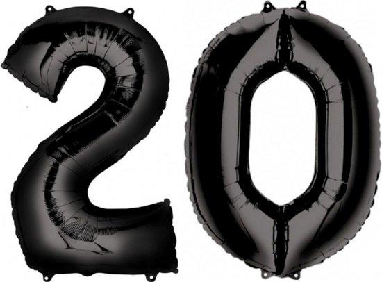 Ballon Cijfer 20 Jaar Zwart 36Cm Verjaardag Feestversiering Met Rietje