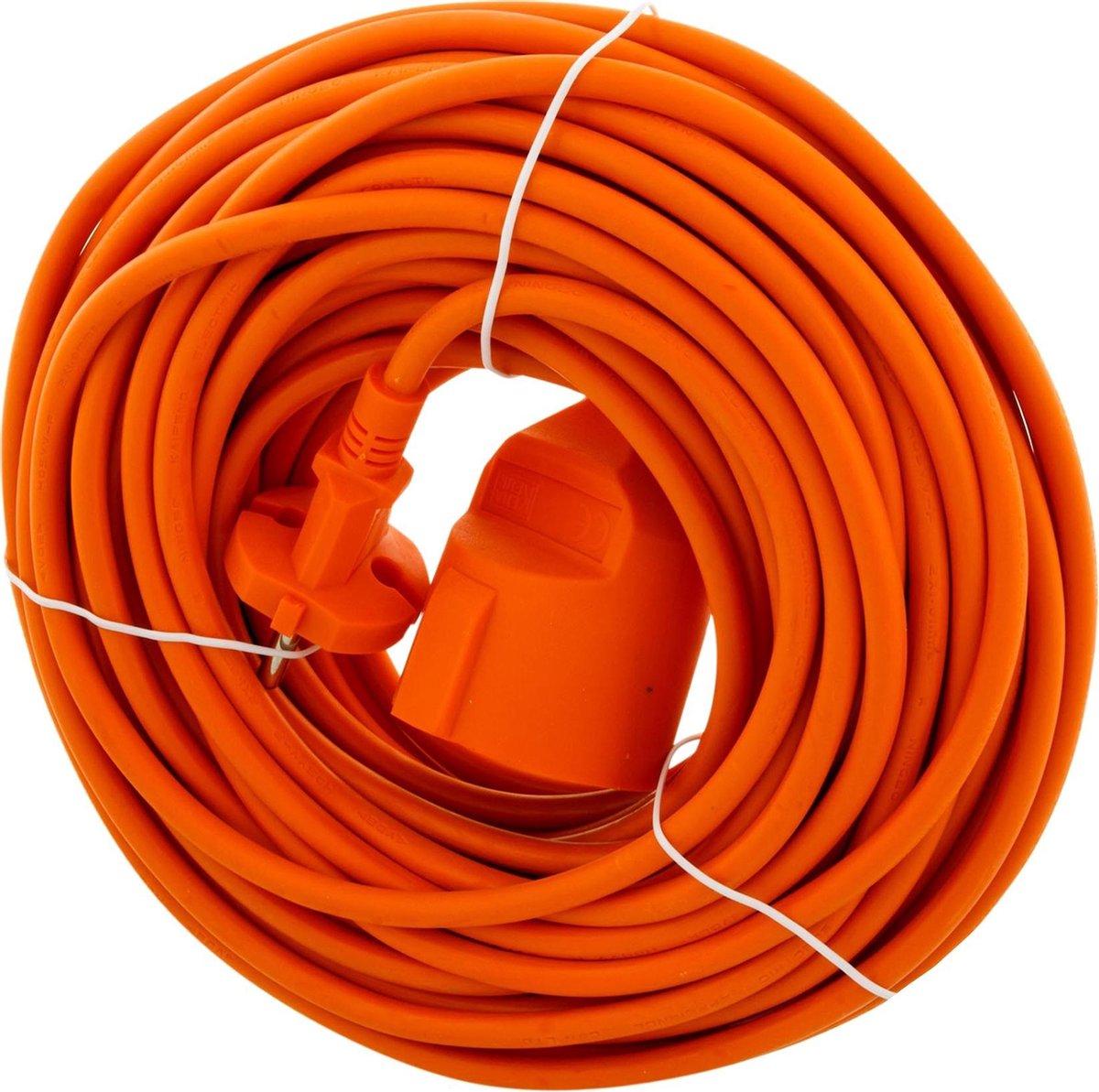 Exin Verlengsnoer - 20 meter - 2 x 1mm  - Niet geaard - Oranje