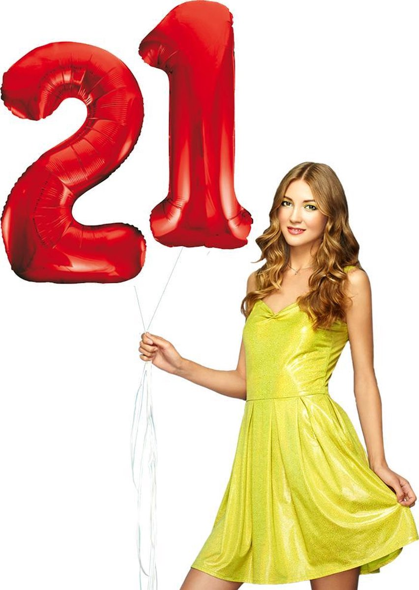 Rode cijfer ballonnen 21.