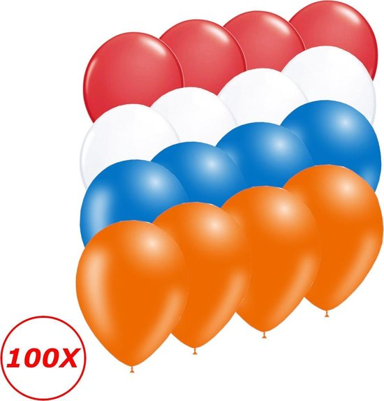 Oranje Versiering Ballonnen Oranje Rode Witte Blauwe EK Koningsdag WK 100 Stuks Feestversiering Verjaardag Ballon