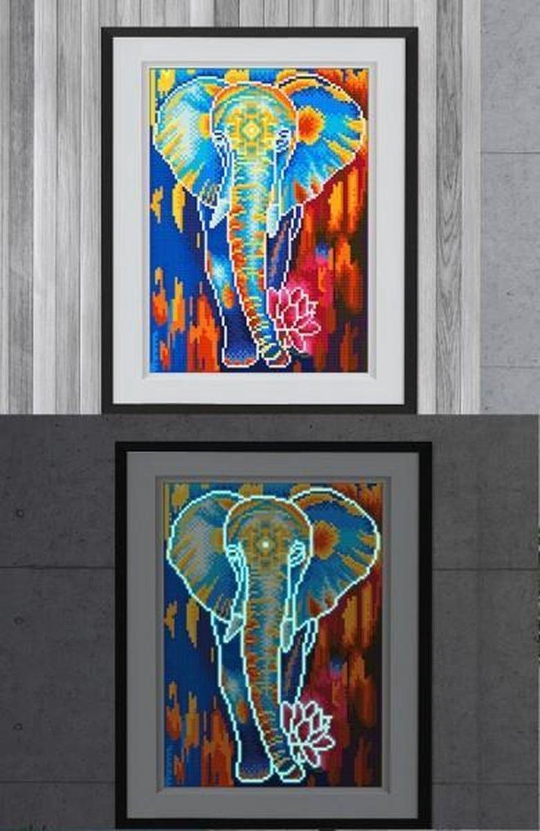 Glow In The Dark Diamond Painting Volwassenen/Kinderen - Ronde Steentjes - Volledig Pakket - Hobby - Dieren - Kleurrijke olifant met lotusbloem 35x25cm