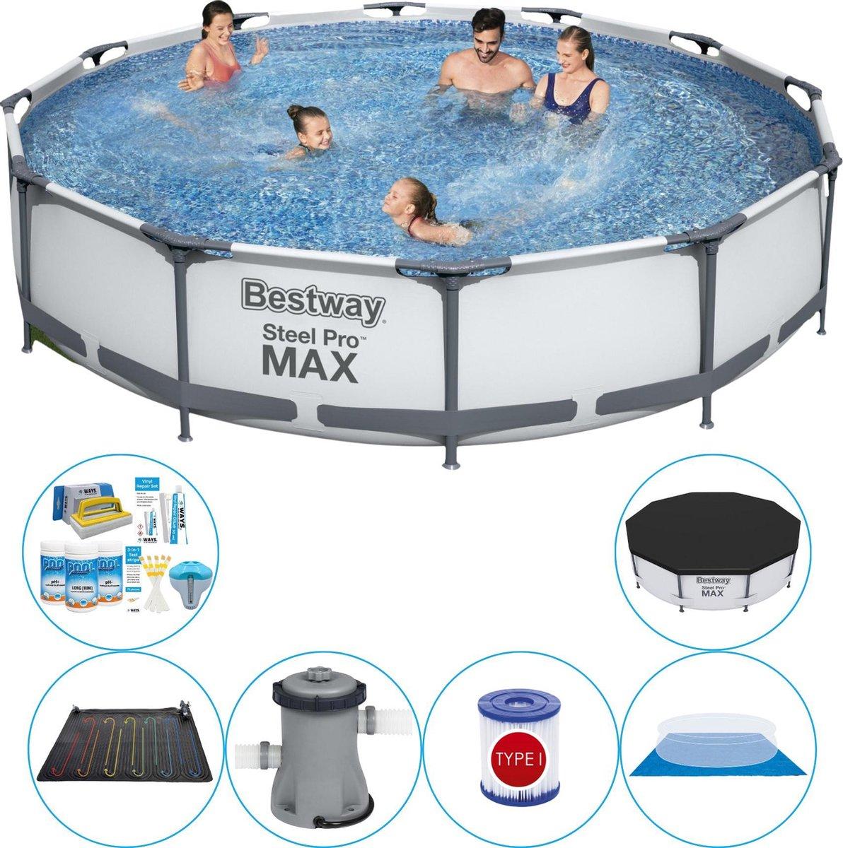 Bestway Steel Pro MAX Rond 366x76 cm - Zwembad Combi Deal