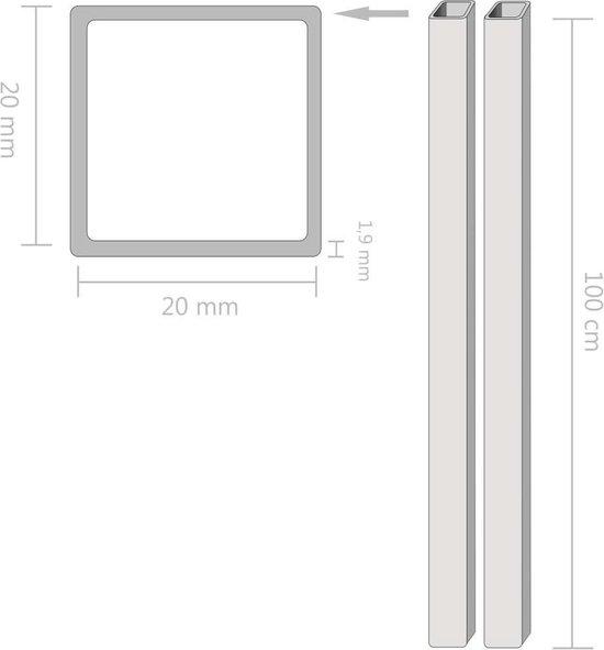 vidaXL Buizen vierkant stekkersectie V2A 1m 20x20x1,9mm rvs 2 st  VDXL_143201