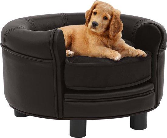 Hondenbank 48x48x32 cm pluche en kunstleer bruin