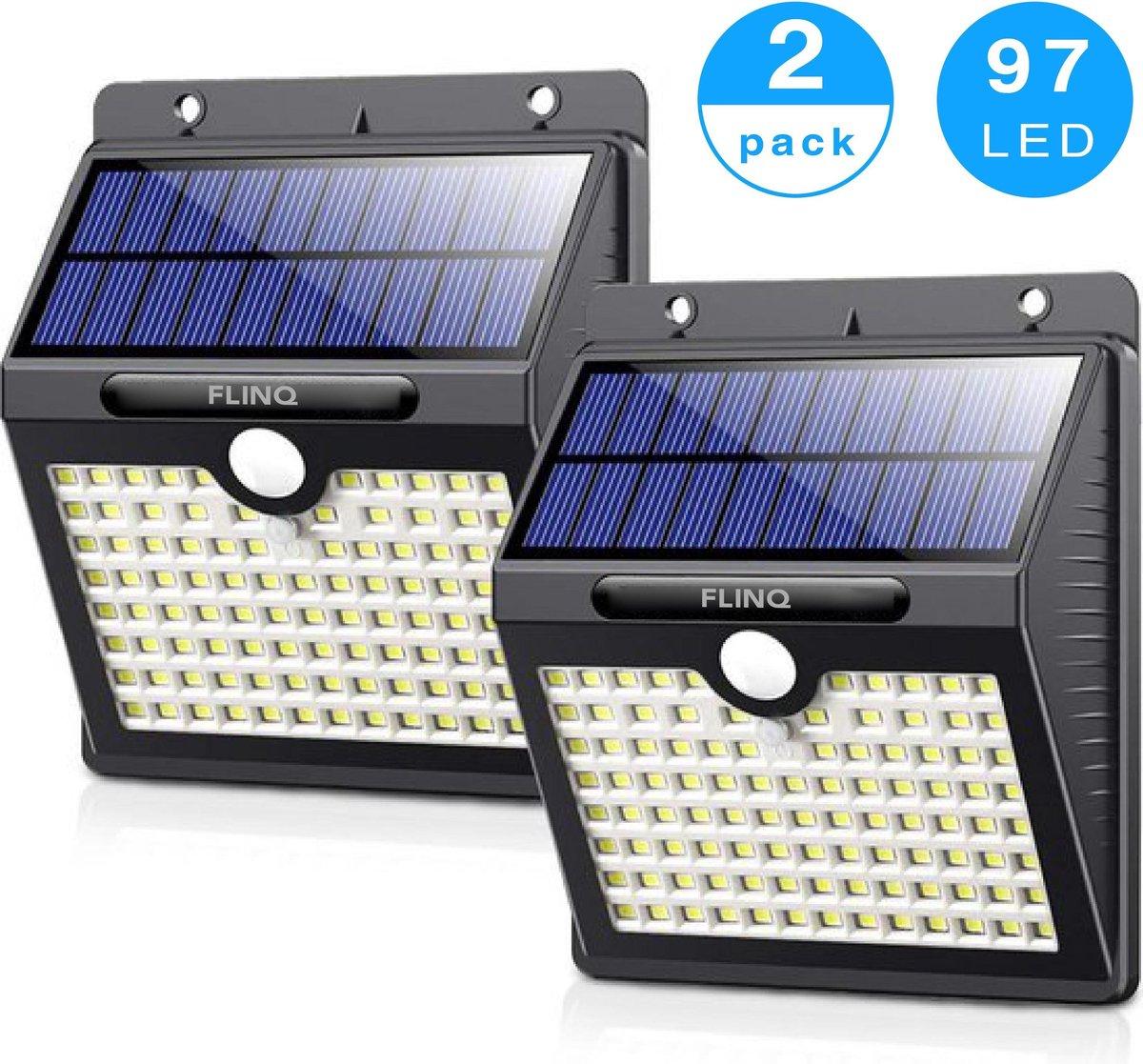 FlinQ Solar Buitenlamp met Bewegingssensor - 97 LEDs - Wit Licht -Tuinverlichting op Zonneenergie -