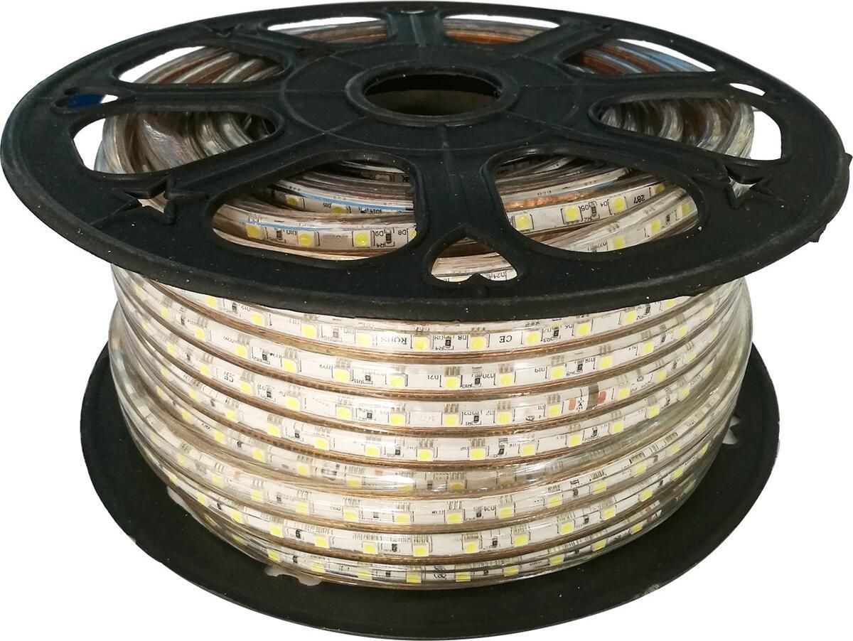 LED Strip - Igna Strabo - 50 Meter - Dimbaar - IP65 Waterdicht - Helder/Koud Wit 6500K - 5050 SMD 230V